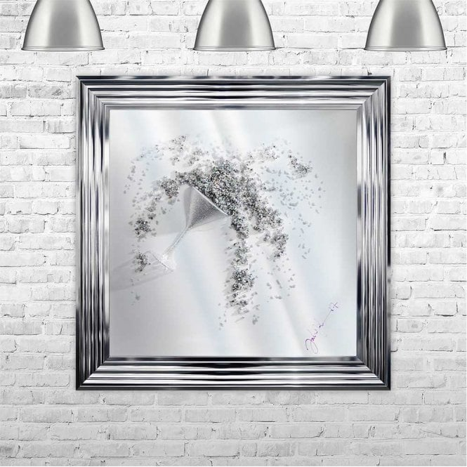 3D MARTINI GLASS WITH CRUSHED GLASS POURING ON MIRROR FRAMED WALL ART