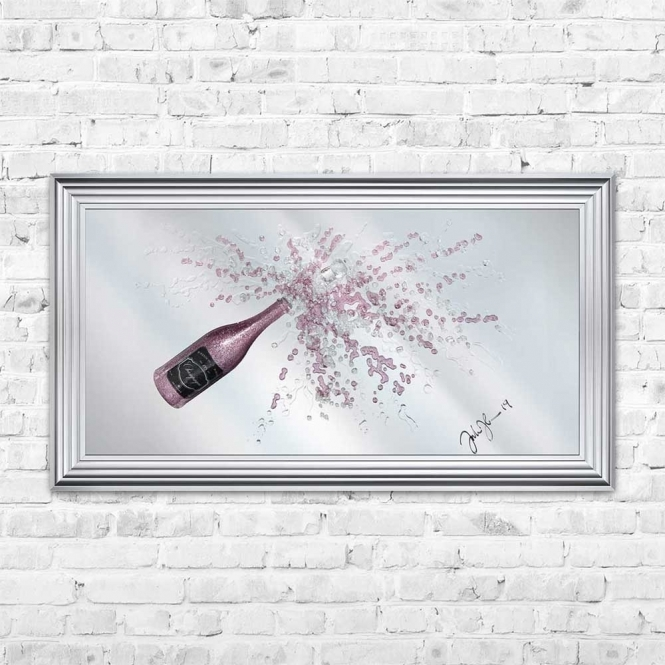 3D PINK CHAMPAGNE MIRROR FRAMED WALL ART