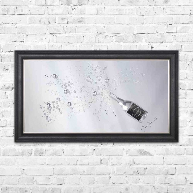 3D SILVER CHAMPAGNE MIRROR FRAMED WALL ART