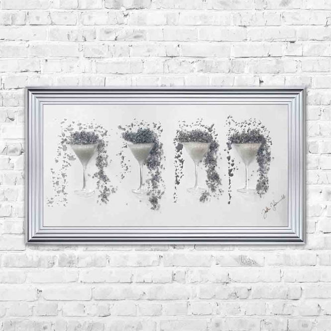 3D SILVER GLITTER & METALLIC MARTINI GLASESES FRAMED WALL ART