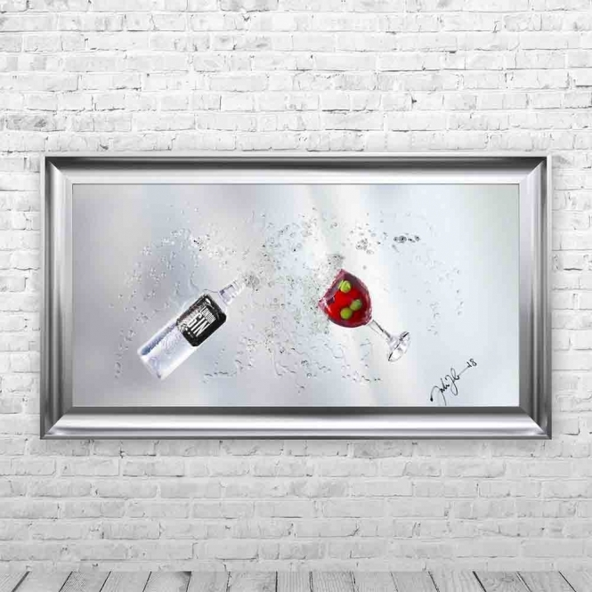 3D STRAWBERRY GIN & COPA GLASS MIRROR FRAMED WALL ART