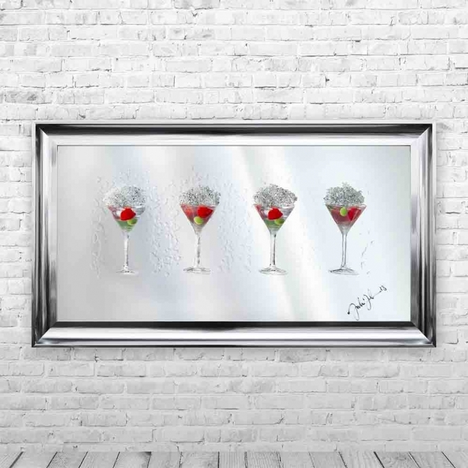 3D STRAWBERRY MARTINI GLASSES MIRROR FRAMED WALL ART