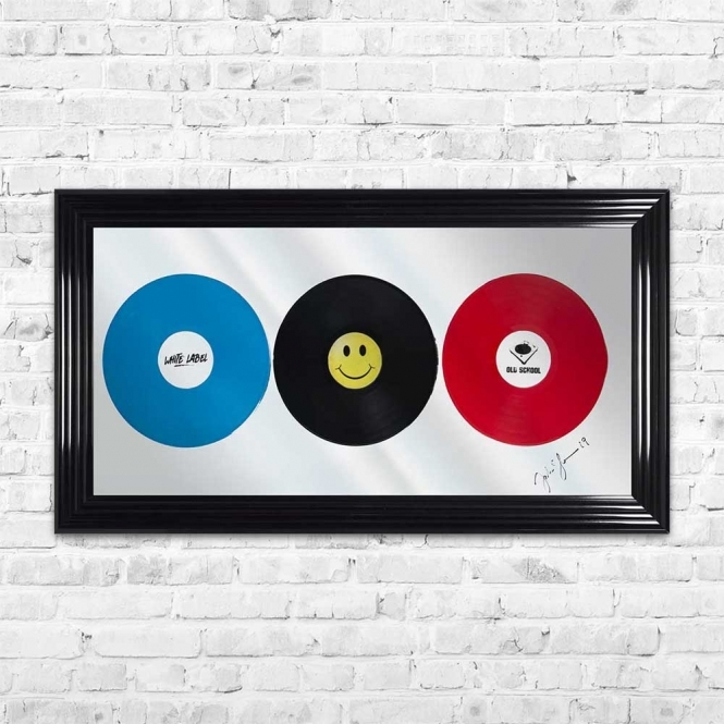 3D VINYL RECORDS MIRROR FRAMED WALL ART