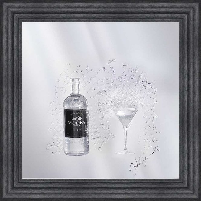 3D VODKA BOTTLE AND MARTINI GLASS ON MIRROR FRAMED WALL ART