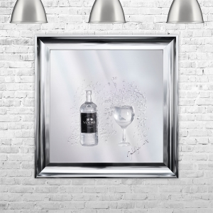 3D Vodka Bottle Liquid Art With Swarovski Crystals | JAKE JOHNSON | 75cm x 75cm