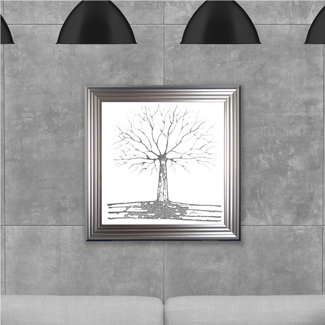 SHH Interiors 75 x 75 cm Framed Glitter Silver Tree White Background - Hand embellished with liquid glass and Swarovski crystals
