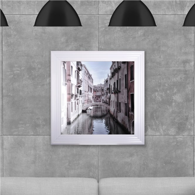SHH Interiors 75 x 75 cm Framed Venice printed glass - Hand embellished with liquid glass and Swarovski crystals