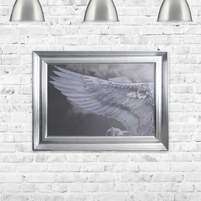 ANGEL WING IN CLOUDS LEFT FRAMED WALL ART