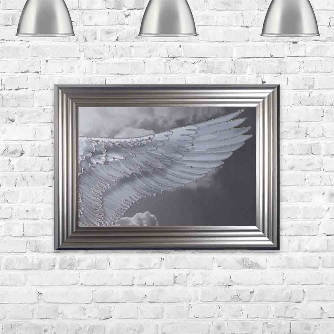 ANGEL WING IN CLOUDS RIGHT FRAMED WALL ART
