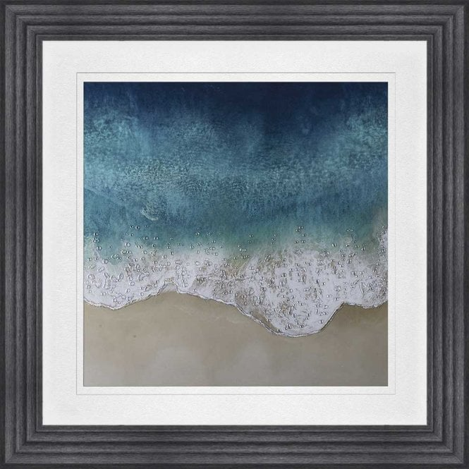 AQUA OCEAN WAVES 3 WHITE MOUNT FRAMED WALL ART