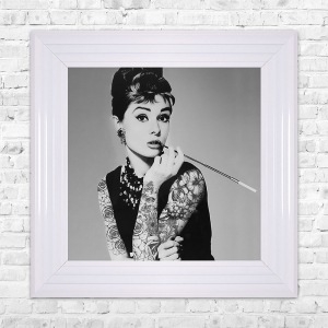 Audrey Hepburn Smoking Print Framed Liquid Artwork and Swarovski Crystals