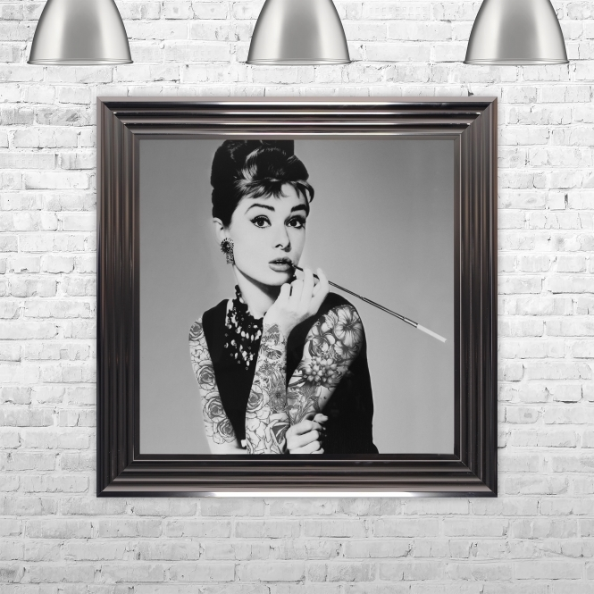 Biggon Audrey Hepburn Smoking Print Hand Made with Liquid Glass and Swarovski Crystals 75 x 75 cm