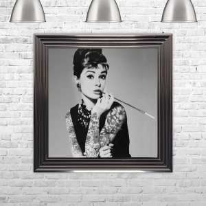 Audrey Hepburn Smoking Print Hand Made with Liquid Glass and Swarovski Crystals 75 x 75 cm