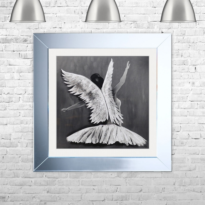 SHH Interiors Ballerina 2 Framed Liquid Artwork and Swarovski Crystals | 75cm x 75cm