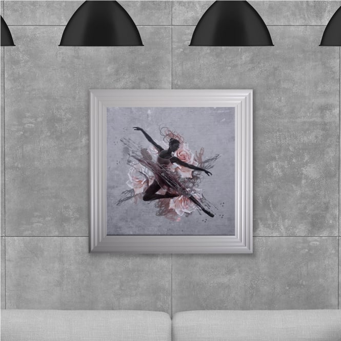 SHH Interiors Ballet Dancer Hand Made with Liquid Glass and Swarovski Crystals 75 x 75 cm