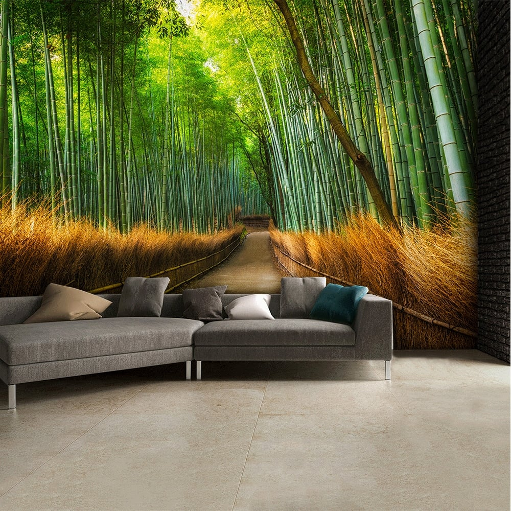 Nature murals bamboo footpath wall mural 315cm x 232cm amipublicfo Choice Image
