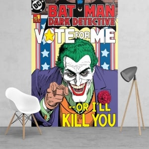 Batman Dark Detective Joker 'Vote for me or I'll kill you' wallpaper Mural | 158cm x 232cm