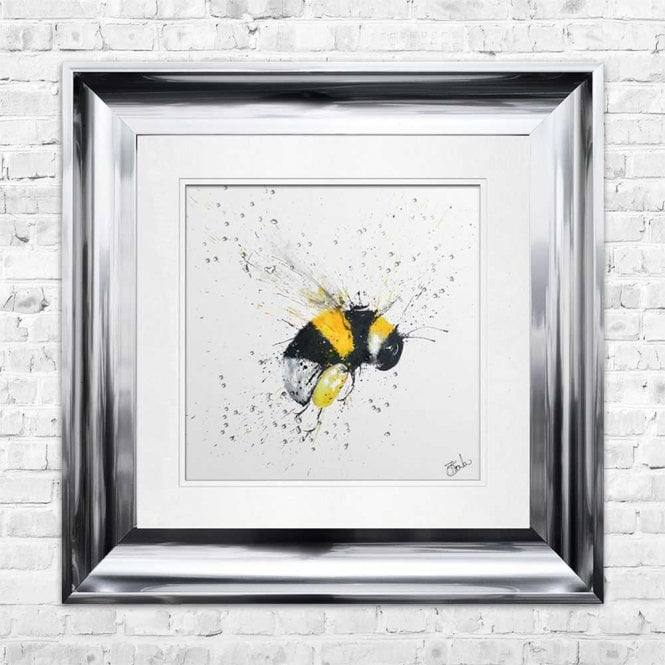 BEE - HAND PAINTED WITH PHEASANT FEATHERS FRAMED WALL ART