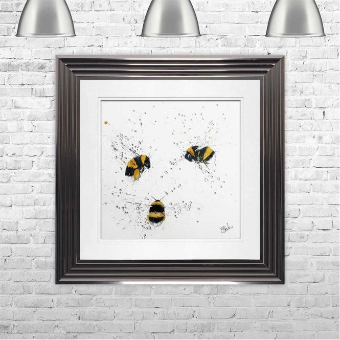 BEES - HAND PAINTED WITH PHEASANT FEATHERS FRAMED WALL ART