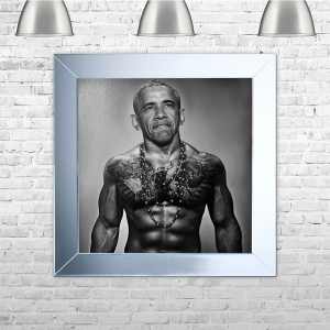 Barack Obama with Tattoos Framed Liquid Artwork and Swarovski Crystals