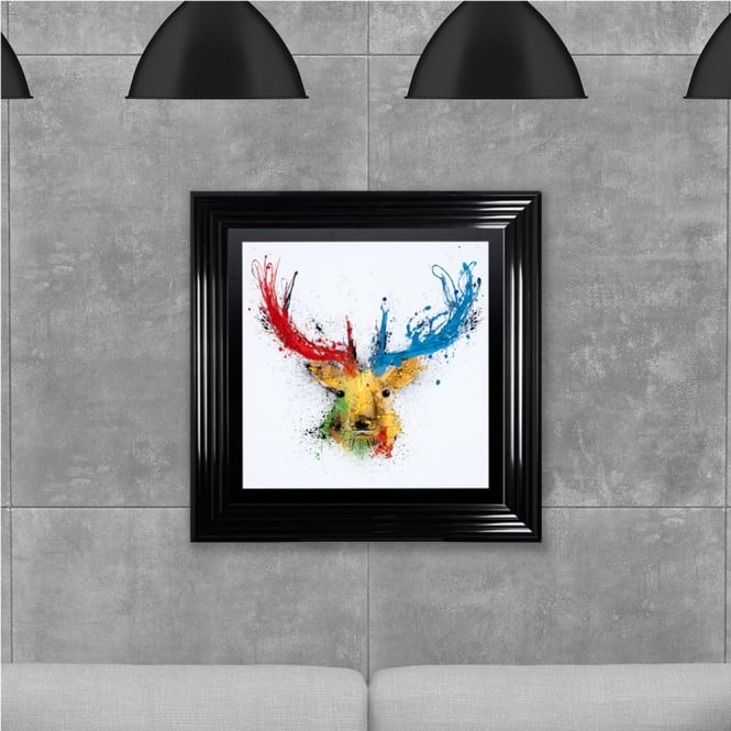Biggon Colourful Stag 2 Hand Made with Liquid Glass and Swarovski Crystals 75 x 75 cm