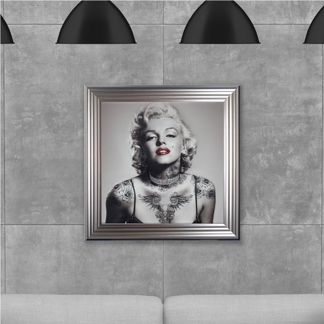 Biggon Marilyn Monroe with Tattoos Made with Liquid Glass and Swarovski Crystals 75 x 75 cm