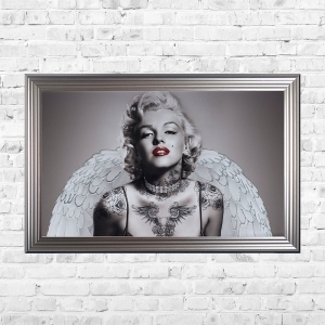 Marilyn Wings and Tattoos Framed Liquid Artwork and Swarovski Crystals Summer Sale