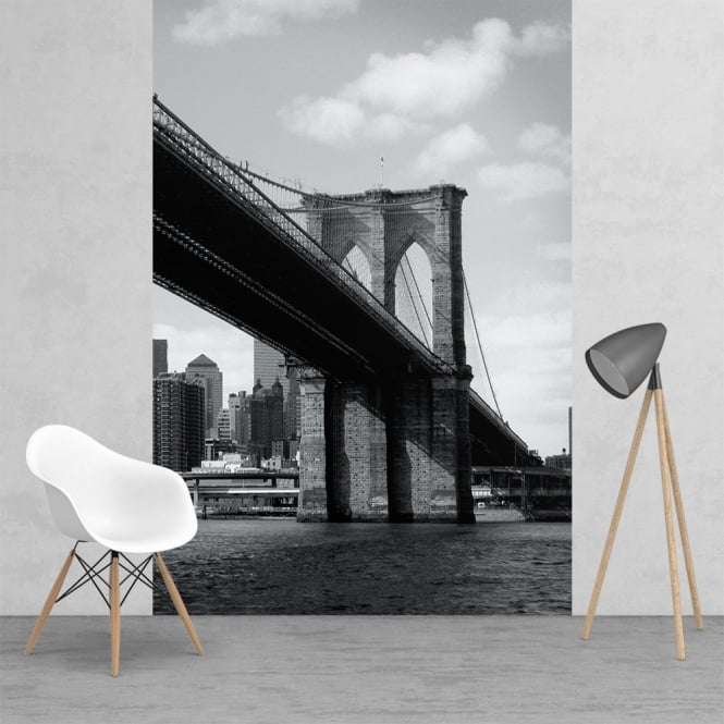 Black and white brooklyn bridge cityscape feature wall for Brooklyn bridge mural wallpaper