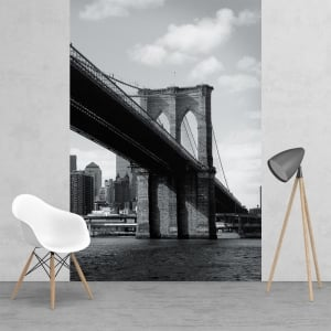Black and White Brooklyn Bridge Cityscape Feature Wall Wallpaper Mural 2 Piece Murals | 158cm x 232cm
