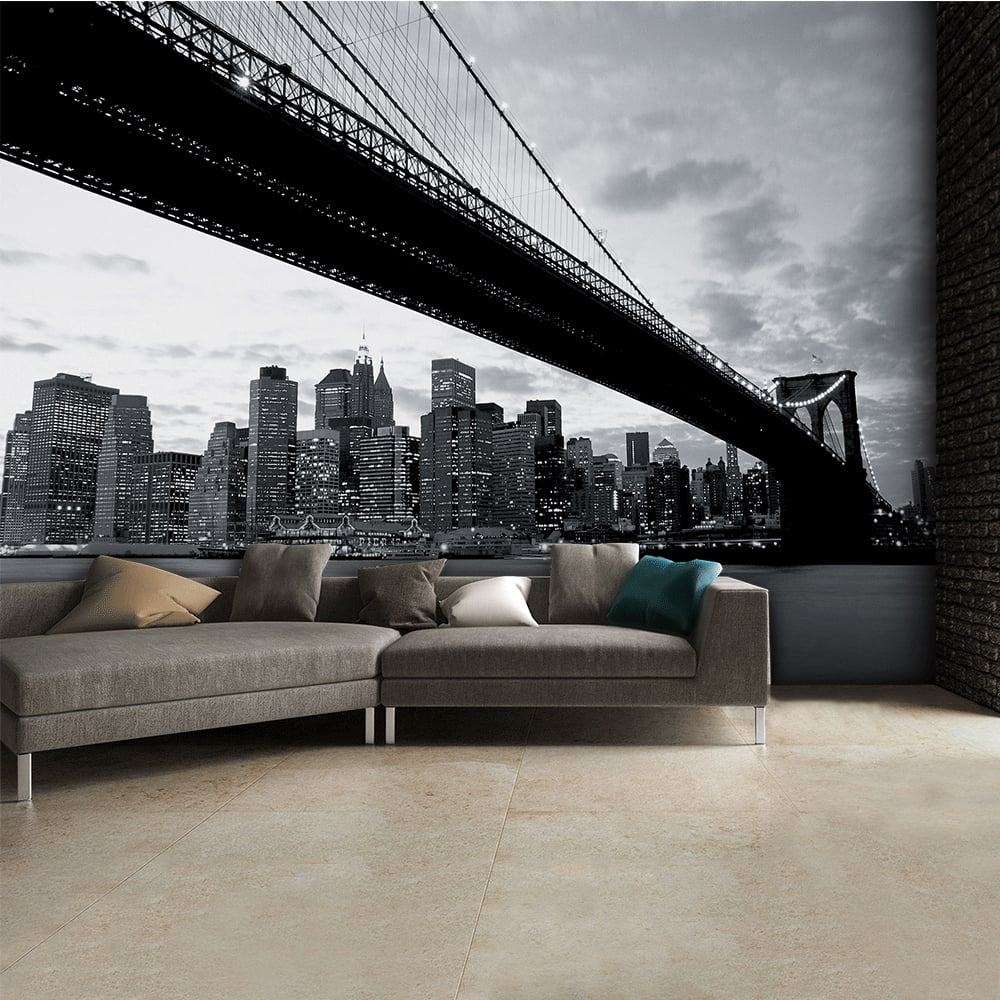 Black and white brooklyn bridge skyline wall mural 315cm for Black wall mural
