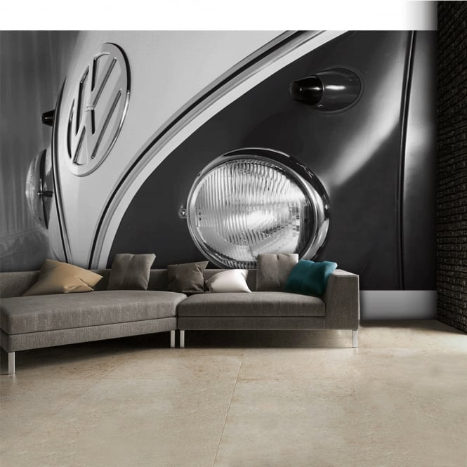 1Wall Black and White Campervan Logo Wall Mural | 315cm x 232cm