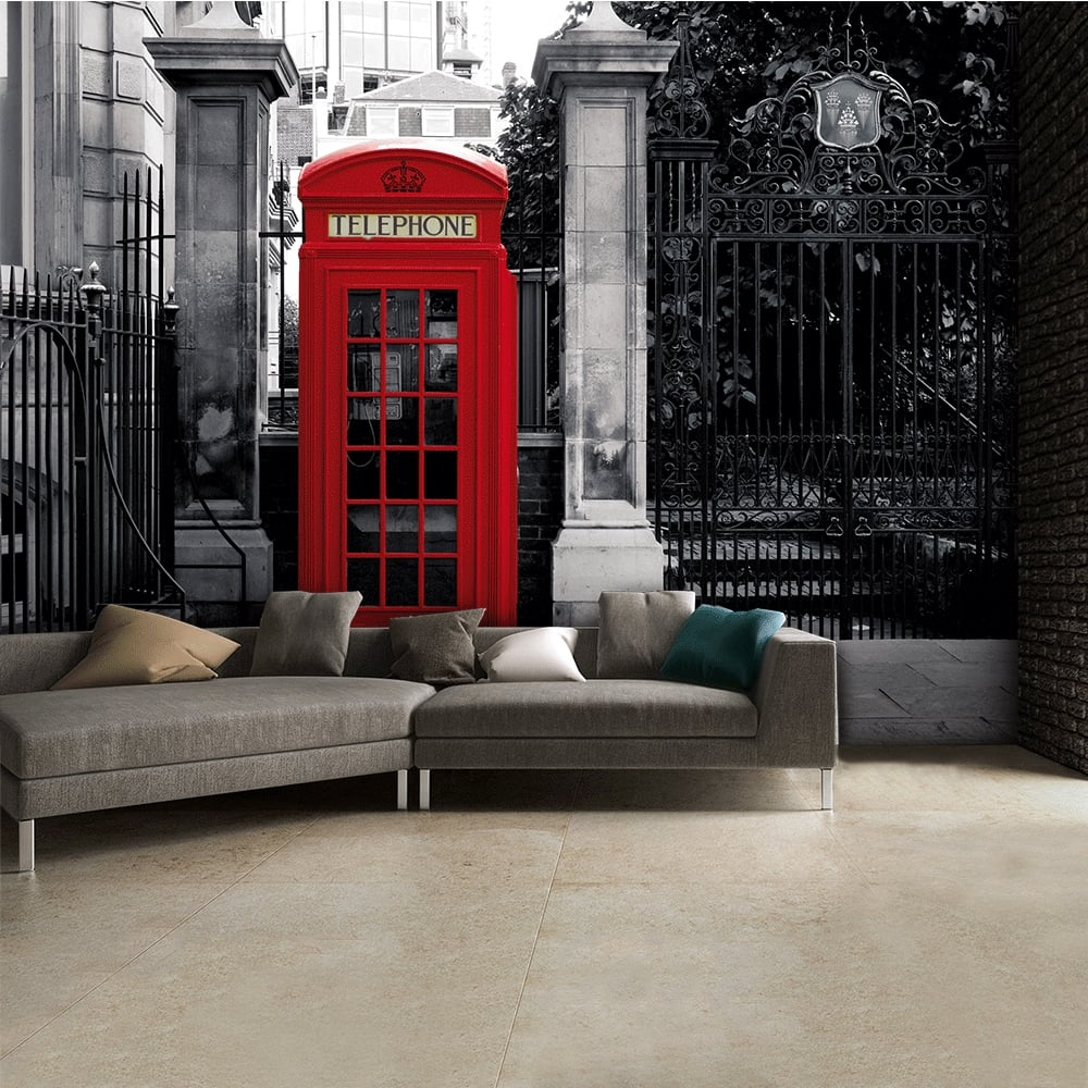 Black And White Iconic Red London Phone Box Wall Mural | 315cm X 232cm
