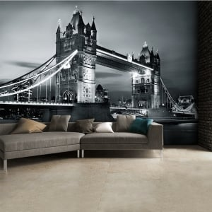 Black and White London Tower Bridge Wall Mural | 315cm x 232cm