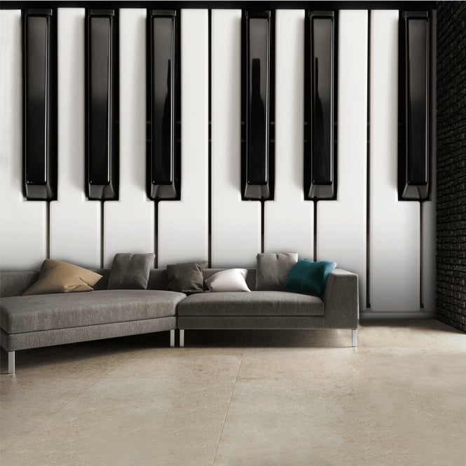 1Wall Black and White Piano Keys Music Wall Mural | 315cm x 232cm