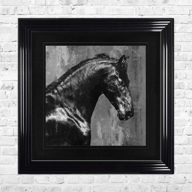 BLACK STALLION BLACK MOUNT FRAMED WALL ART
