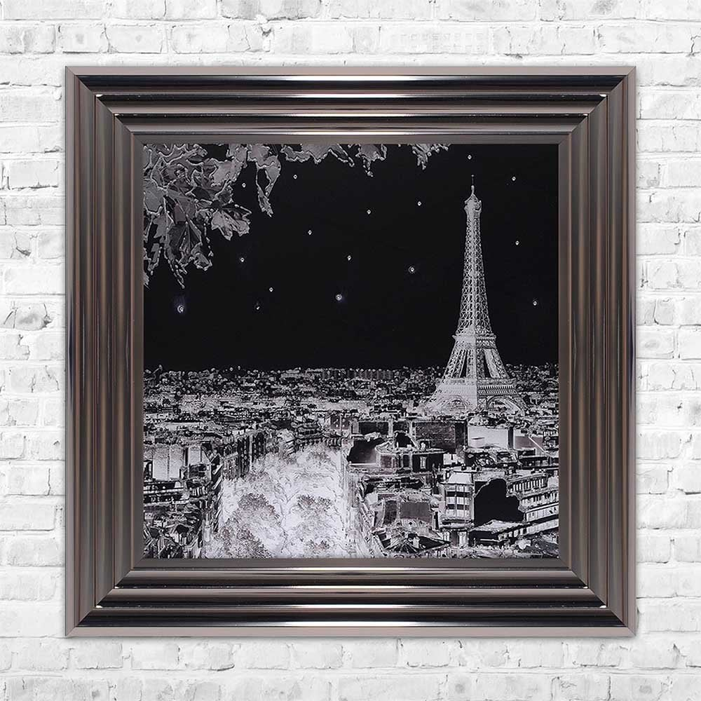 Black white paris eiffel tower framed wall art