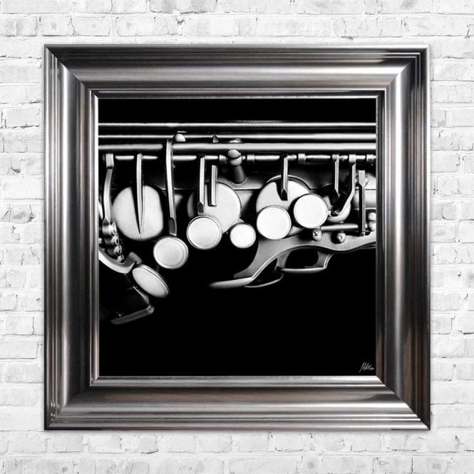 BLACK & WHITE SAXOPHONE FRAMED WALL ART