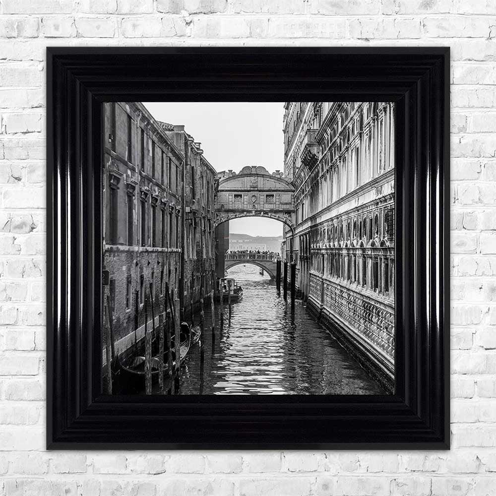 Black white venice bridge framed wall art