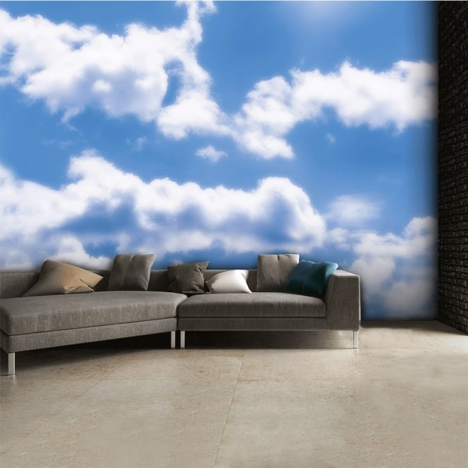 1Wall Blue and White Sky Clouds Wall Mural | 315cm x 232cm