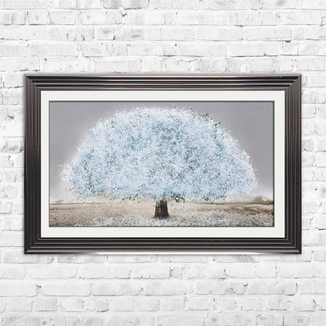 BLUE BLOSSOM TREE FRAMED WALL ART