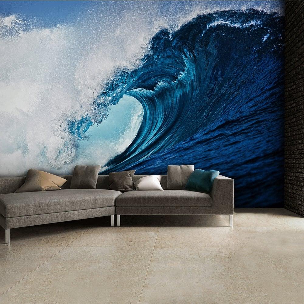 Surf wave wall mural 315cm x 232cm blue surf wave wall mural 315cm x 232cm amipublicfo Choice Image