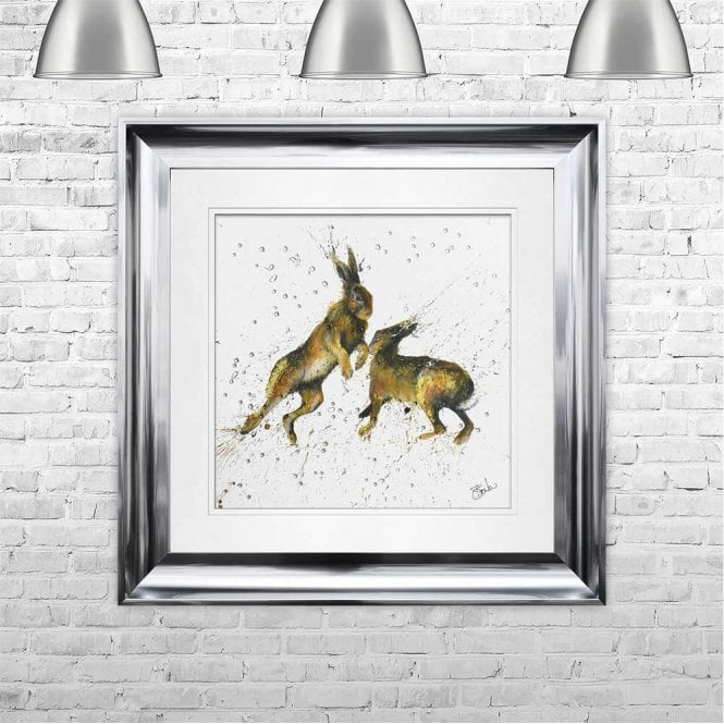 BOXING HARES - HAND PAINTED WITH PHEASANT FEATHERS FRAMED WALL ART