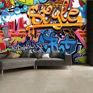Brightly Coloured Street Graffiti Feature Wallpaper Mural | 315cm x 232cm