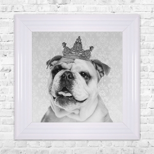 British Bulldog Print Framed Liquid Artwork and Swarovski Crystals