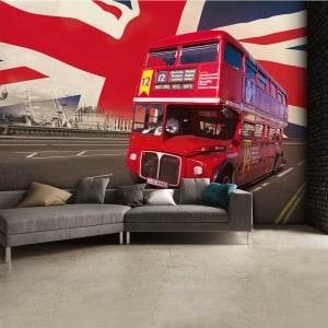 British Flag Red London Bus Wall Mural | 315cm x 232cm