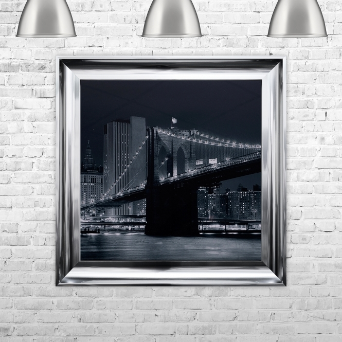 SHH Interiors Brooklyn Bridge Artwork Hand Made with Liquid Glass and Swarovski Crystals 75 x 75 cm