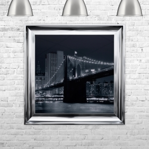 Brooklyn Bridge Artwork Hand Made with Liquid Glass and Swarovski Crystals 75 x 75 cm