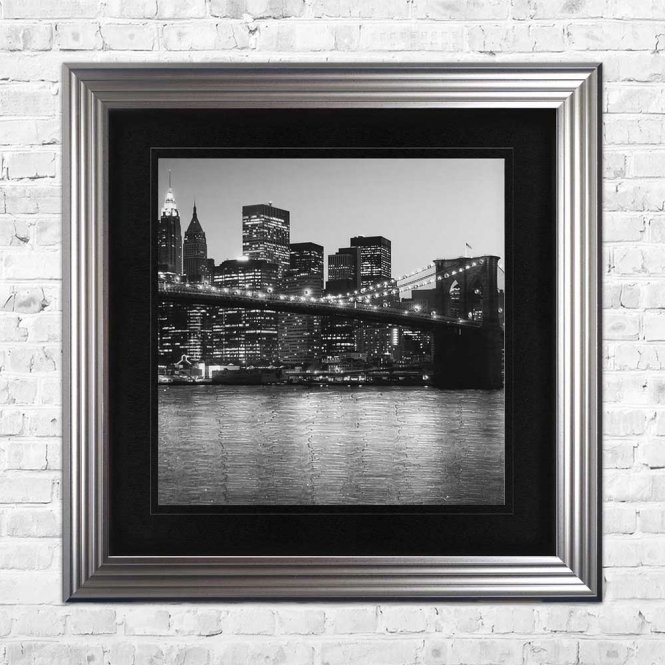 BROOKLYN SKYLINE AT NIGHT BLACK MOUNT FRAMED WALL ART