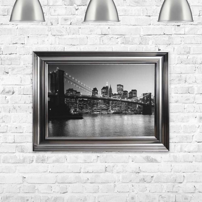 BROOKLYN SKYLINE AT NIGHT FRAMED WALL ART