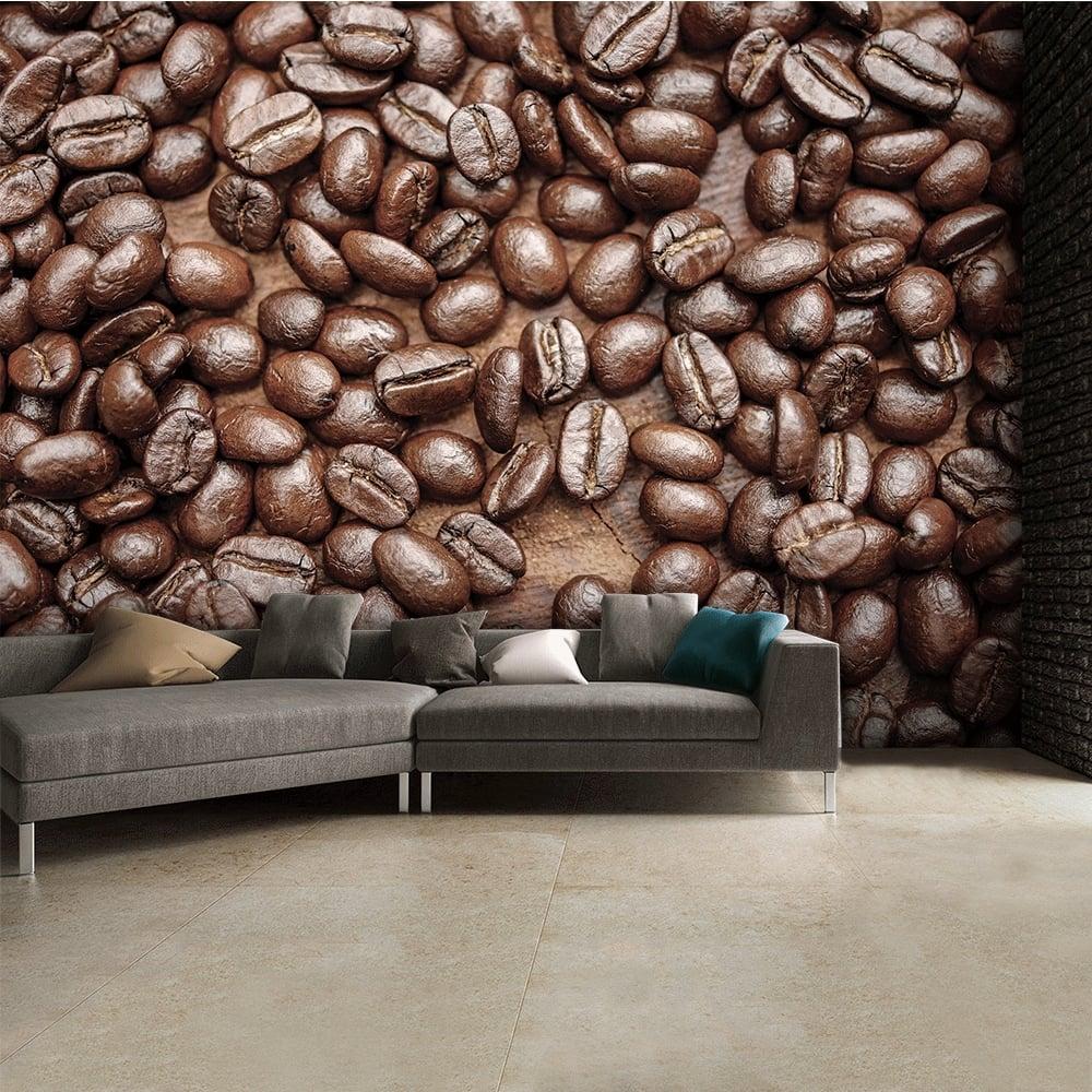 Brown caf coffee bean wallpaper wall mural 315cm x 232cm for Mural coffee